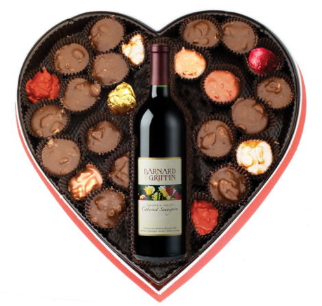 BG CC PHOTO Red Wine  Choc Heart Shaped Box