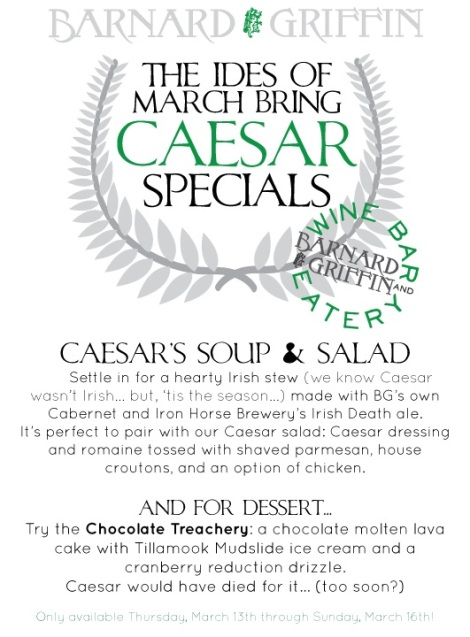 Barnard Griffin WINE BAR & EATERY IDES of MARCH - Come Caesar  Wine