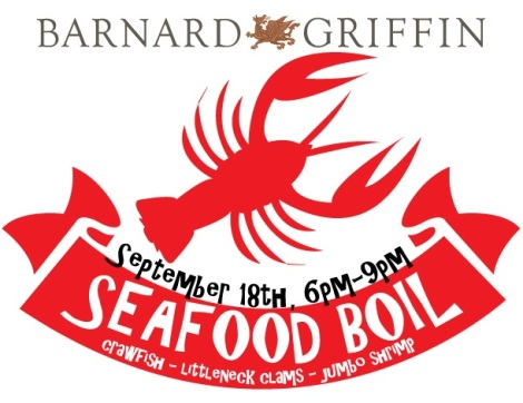 Barnard Griffin Seafood Boil, September 18th, 6-9pm