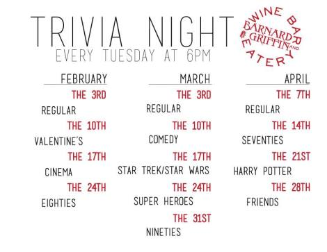 Barnard Griffin Wine Bar and Eatery: Tuesday is Trivia Night
